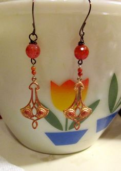 Carmella Carnelian fire polished earrings hand crafted by Scentedlingerie, Etsy