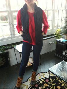 L.L. Bean Boots, Jeans, Red Madewell Sweater, Black Vest, RayBan Wayfarers