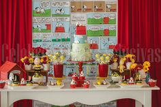Snoopy themed birthday party via Kara's Party Ideas : The dessert table
