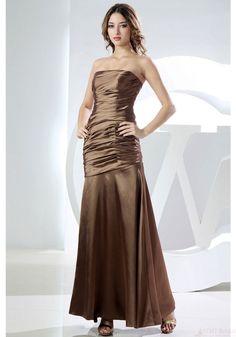 Mermaid Prom Dresses-Sheath Strapless Floor-length Gathered Bodice Elastic Satin Bridesmaid Dresses