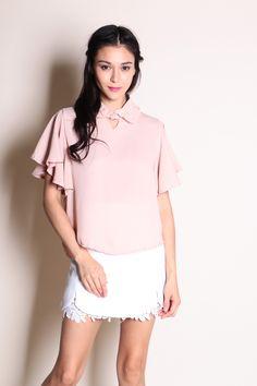 Flutter Sleeve Collar Top (Pink) SGD$ 28.00