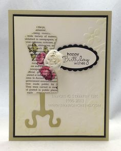 This card uses some of my favorite Stampin' Up! items including the Dress Up Framelit, Elements of Style stamp set, Petite Pairs stamp set, First Edition Specialty Designer Series Paper, and the new Flower Trim.