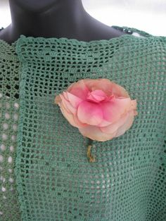 Vintage floral pin, pink rose corsage, silk handmade, feminine pastel, hat, purse or shawl pin, retro, boho, garden lovers, sweet flower pin by thelavenderpear on Etsy