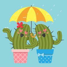 the loving couple of cactus under umbrella in the rain Stock Vector