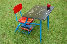 Vintage 1970's School Desk, Metal And Bakelite Type Material, Restored With Childrens Colors And Blackboard