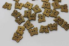 10 Antique Bronze Butterfly Sew Through by boysenberryaccessory
