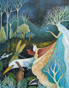 The Gathering - Amanda Clark Artist-Amanda Clark- art gallery, original paintings Illustrations, Illustration Art, Clark Art, Art Sculpture, Fairytale Art, Wow Art, All Nature, Angel Art, Whimsical Art