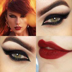 makeup com olho preto felino da Taylor Swift em Bad Blood- esse deliniado é mesmo muito lindo