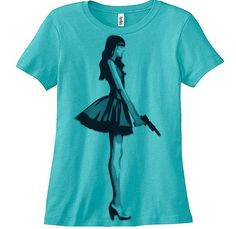 Hey, I found this really awesome Etsy listing at http://www.etsy.com/listing/167035660/girl-with-gun-t-shirt-womens-tee-hand