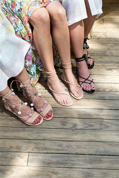 LR Insider: Sunset Hooky guests featuring the Saskia Strappy Sandal and the Bo Tassel Wrap Sandal.