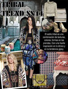 El estilo tribal es una combinación de texturas, colores, formas en las prendas. Con una fuerte inspiración en lo étnico y  en la tendencia gipsy.