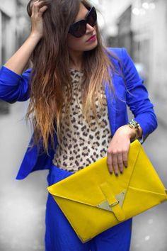 leopard + blue + yellow.