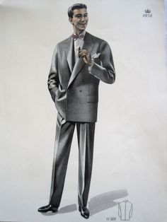 Vintage French Fabulous 1956 Mens Fashion Print From A Gents Clothing Catalogue H387