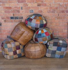 The use of ultimately beautiful materials brings the Beanbag, right back in to the modern world. Seventies Fashion, Leather Scraps, Vintage Sofa, Sewing Table, Harris Tweed, Match Making, Leather Accessories, Bean Bag, Leather Working