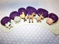 Farm Animal Set (22-40mm) Mold, Cow Sheep Chicken Horse Donkey Pig, Cupcake Cake Mold, Chocolate Mold, Fondant Mold, Resin, Clay Mold