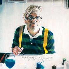 "Portrait of David Hockney 60"" X 60"" acrylic on canvas by Wildbank, 1978"