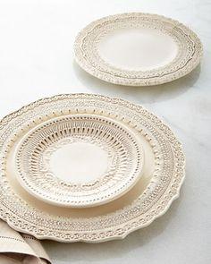 Arte Italica Finezza Cream Dinnerware from Horchow Cream Dinnerware, Dinnerware Sets, White Dishes, Dinner Sets, Dinner Table, Fine Dining, Stoneware, Crate And Barrel, Plates