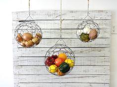 Opknoping draad vruchten en Veggie bol mand Set door CharestStudios