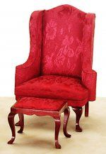 &Azt3196: Wingback Chair w/Stool, Red CLA10875