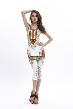 e4310241e74 African Bazin Bodycon Dashiki Top Shirt+Leggings 2Pcs Set. Traditional African  ClothingAfrican DashikiAfrican Print PantsSuit ...