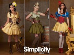Dive into a world of fantasy and role play with these cosplay costumes designed by Andrea Schewe. Simplicity pattern 1093 includes all the pieces you need to turn your favorite fairy tale characters into fierce warriors.
