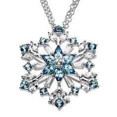White and Blue Topaz Snowflake Pendant. by gwen