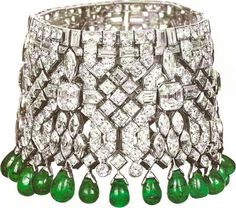 Vintage VanCleaf & Arpels Diamond and Emerald Drop Bracelet
