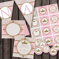 Princess party package, printable party supplies. instant download. light pink and gold by AmysSimpleDesigns on Etsy https://www.etsy.com/listing/192439394/princess-party-package-printable-party