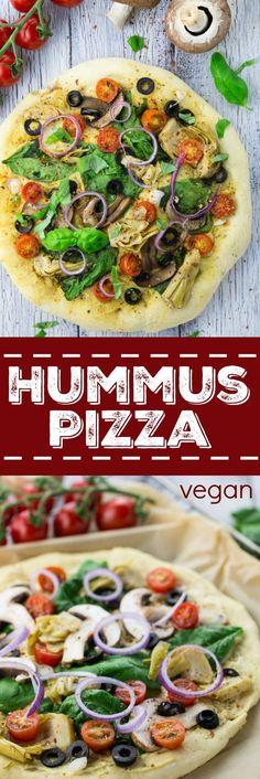 Für alle Hummus-Liebhaber: Hummus Pizza mit Spinat, Oliven und Artischocken. Unglaublich lecker, einfach zuzubereiten und 100 % vegan!