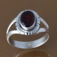 925 SOLID STERLING SILVER GARNET RING 3.30g DJR8412 SZ-6 #Handmade #Ring