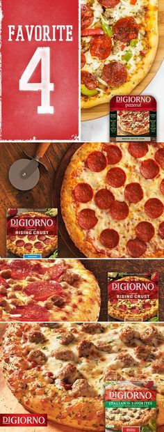 Your bracket may be busted, but you can still win on game day. Just serve a combination of these DIGIORNO pizza all-stars—pizza lovers' top 4 favorites. Enjoy the big, juicy toppings and signature sauce on our Pizzeria! Supreme Speciale Pizza. Or the plentiful pepperoni on our Original Rising Crust Pepperoni Pizza. Or the incredible meat combo on our Original Rising Crust 3-Meat Pizza. Or the zesty toppings on our Italian Style Favorites Meatball Marinara Pizza. Game on!