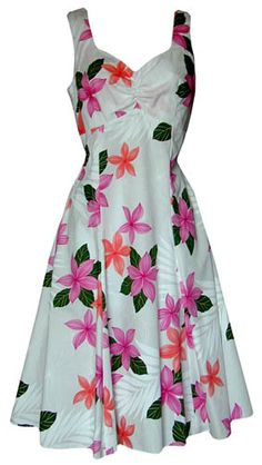 New Ladies White with Pink Hawaiian Flowers Aloha Sun Dress Halter Top