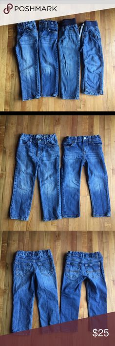 4T Toddler Boy's Jeans Buddle 4T Boy's Jeans Bunddle  1.Oshkosh Straight Leg with adjustable waist 2.Carter's Skinny Leg adjustable waist 3.Gymboree Pull-on Slim ribbed waist with twill tape      drawstring  4.Carter's Pull-on ribbed waist   All in good condition.No stains,no ribs,and no holes.Came from a smoke free and pet free home. Carter's Bottoms Jeans