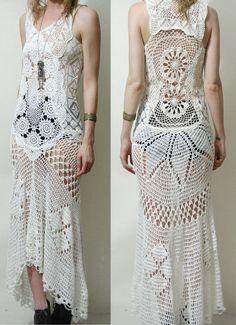 Crochet Dress VINTAGE Full LACE White Fishtail/Train Bohemian Hippie Cotton Scallop Wedding Handmade ooak Size XS. $289.00, via Etsy.