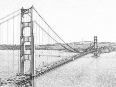 Learn how to draw San francisco bridge drawing Cool Art Drawings, Cool Sketches, Easy Drawings, Golden Gate Bridge Painting, Istanbul, San Francisco Bridge, Bridge Tattoo, Bridge Drawing, Building Sketch