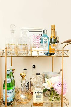 Gorgeously styled, fully-stocked #brass vintage #bar cart
