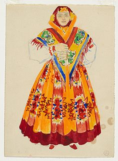 Natalia GONCHAROVA (Russia 1881 – France 1962), Costume design for a peasant woman, front view, c.1914, gouache and pencil on paper