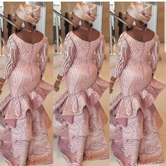 Detailed dress by Teekayfashion African Lace Styles, African Lace Dresses, Latest African Fashion Dresses, African Dresses For Women, African Clothes, African Style, Dress Fashion, African Wedding Attire, African Attire