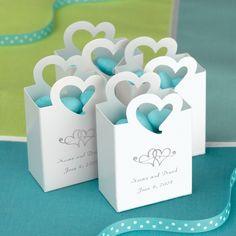 Mini Tote Wedding Favor Box with Heart Handle | #exclusivelyweddings