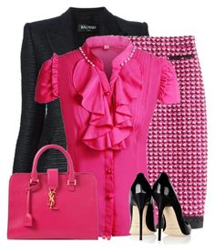 A fashion look from February 2016 featuring pink shirt, blazer jacket and long pencil skirt. Browse and shop related looks. Business Casual Outfits, Business Fashion, Classy Outfits, Chic Outfits, Business Wear, Tweed Skirt, How To Look Classy, Work Fashion, Polyvore Outfits