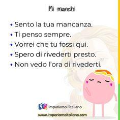 """""""Mi piace"""": 572, commenti: 2 - Learning Italian online (@learnitaliannow) su Instagram: """"MI MANCHI Sento la tua mancanza. Ti penso sempre. Vorrei che tu fossi qui. Spero di rivederti…"""" Learning Italian"""