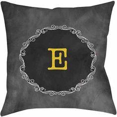 Thumbprintz Chalkboard Scroll Monogram Yellow Decorative Pillows
