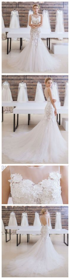 2018 Princess Illusion Neck Sleeveless Pure Bridal Dresses ASD26955 #scoopneck #sleeveless #party #dresses #Dress #appliques #tulleskirt #princess #autumn #fashion #style #art #love #shopping #backless #Today #autumn #autumncolors #autumnfashion #autumn2017