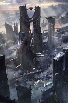 Cyberpunk art киберпанк submundo cidade futurista, cidade cyberpunk e arqui Cyberpunk City, Cyberpunk Kunst, Futuristic City, Futuristic Architecture, Fantasy City, Fantasy Places, Fantasy Landscape, Sci Fi Fantasy, Landscape Art
