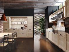 Cucine in legno: design classico contemporaneo Lux Classic | Snaidero.  Dettaglio sull'elegante credenza a giorno attrezzata con zona operativa con piano di lavoro.