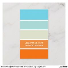 Shop Blue Orange Green Color Block Interior Designer Business Card created by wuyfavors. Beach Color Palettes, Orange Color Palettes, Blue Colour Palette, Color Palate, Autumn Color Palette, Paint Color Schemes, Beach Color Schemes, Colour Blocking Interior, Colours That Go Together