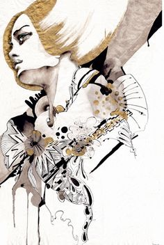 "OUT OF CONTROL  Naja Conrad-Hansen is a Copenhagen, Denmark based award-winning artist who portrays fashion figurative in a unique style.    Graduating from Danmarks Design School in 2003 with a MA in Visual communication and a background in fine art. Her work is a blend of illustration, painting, graphic design, etc. Her style is basically about ""finding some untouched areas of the mind and stimulating the eye and imagination""."
