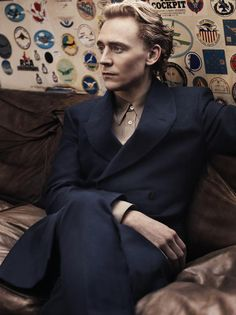 #TomHiddleston   looking stunning in a double-breasted suit jacket   photographed by #ScottTrindle for the #USVogue May 2012