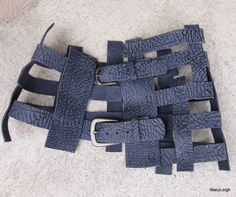 Bullhide Leather Lattice Belt in Charcoal Smoky Blue by stacyleigh, $175.00