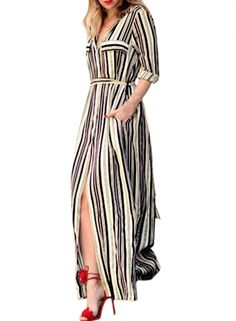 Women's Fashion Color Block Striped High Slit Tie Waist Dress OASAP.com